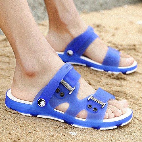 Xing Lin Sandalias De Hombre Sandalias De Verano De Hombres Zapatillas Sandalias Zapatillas Hombres Del Agujero Medio Zapatos Slip-On Skid Estudiante Sandalias Y Zapatillas 36 Azul Royal
