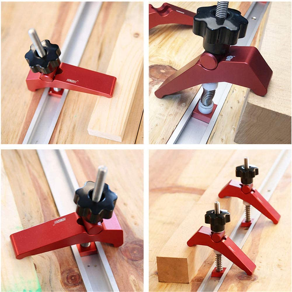 Hold-Down Clamp T screw + M8 plastic handle Universal Metal Hold Down Clamp Quick Acting for T-Slot T-Track Clamp Set Precision Woodworking Tool.