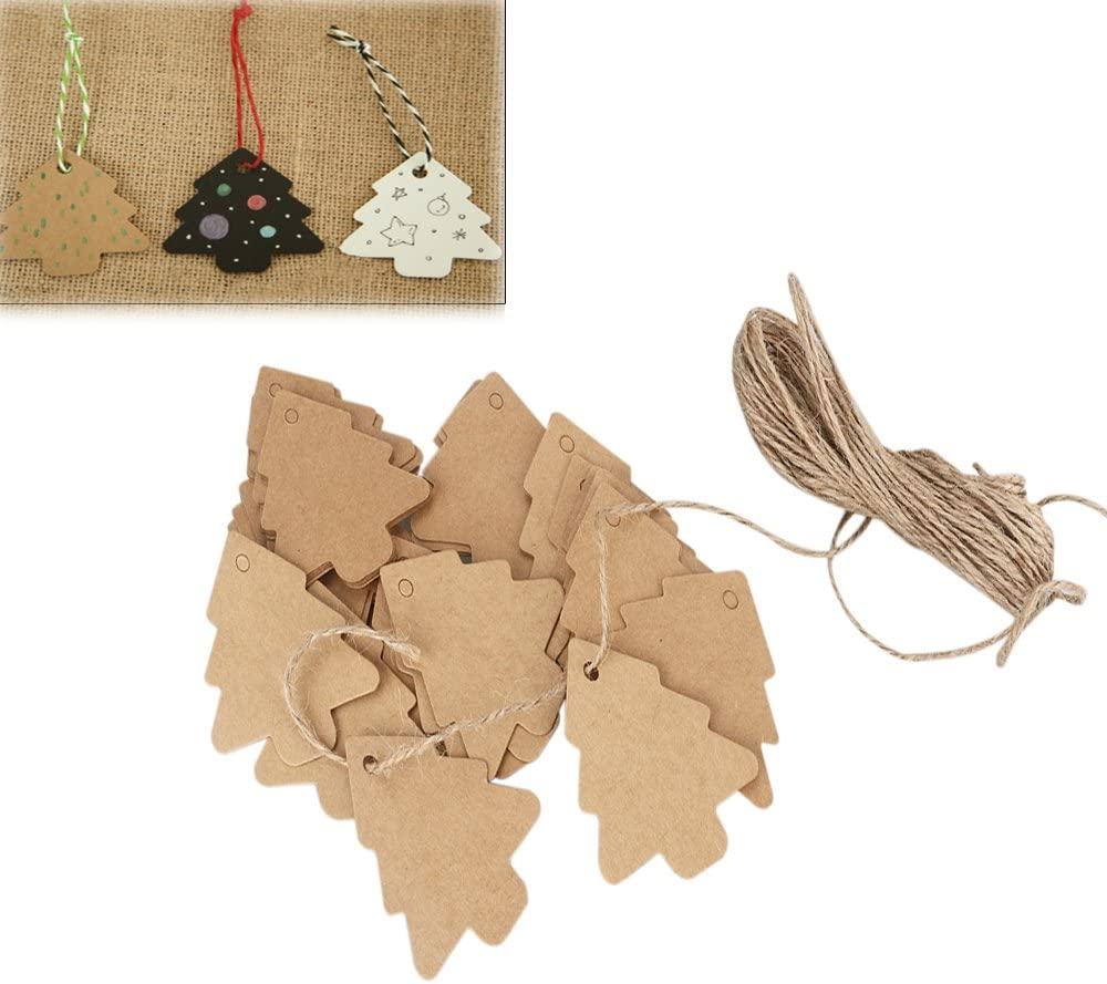 dailymall 100pcs Kraft Paper Tags Thanks for Coming Tags with 20 Meters Jute Twine for Wedding Thanksgaving Christmas Party Arts
