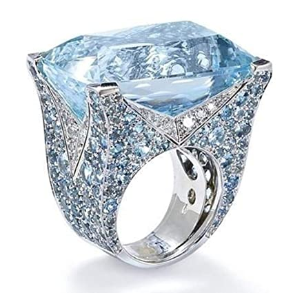 DICPOLIA Women Rings Sterling Silver Gemstone and Diamond Cushion Halo Ring 9c142ce56e3c