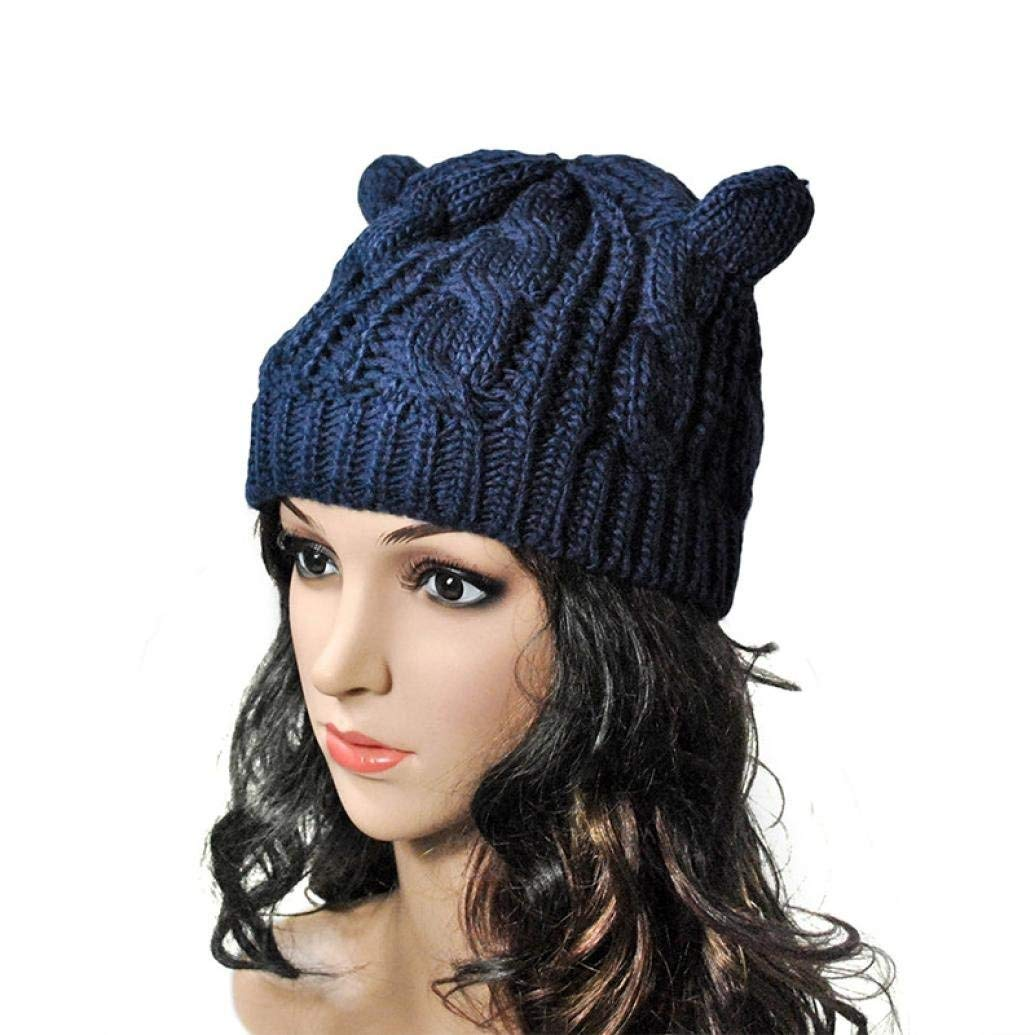 26a45e5cb30 Voberry Women s Fashion Cat Ear Knit Snow Hat Winter Snowboarding Beanie  Crochet Cap Hats One Size Blue  Amazon.in  Clothing   Accessories