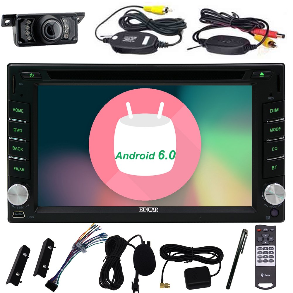 EinCar Android 6.0 Double Din Car Stereo 6.2 Inch Touch Screen Car GPS DVD Player In Dash Navigation Vehicle Radio Audio Receiver Bluetooth Support WiFi 1080P Video with Wireless Backup Camera