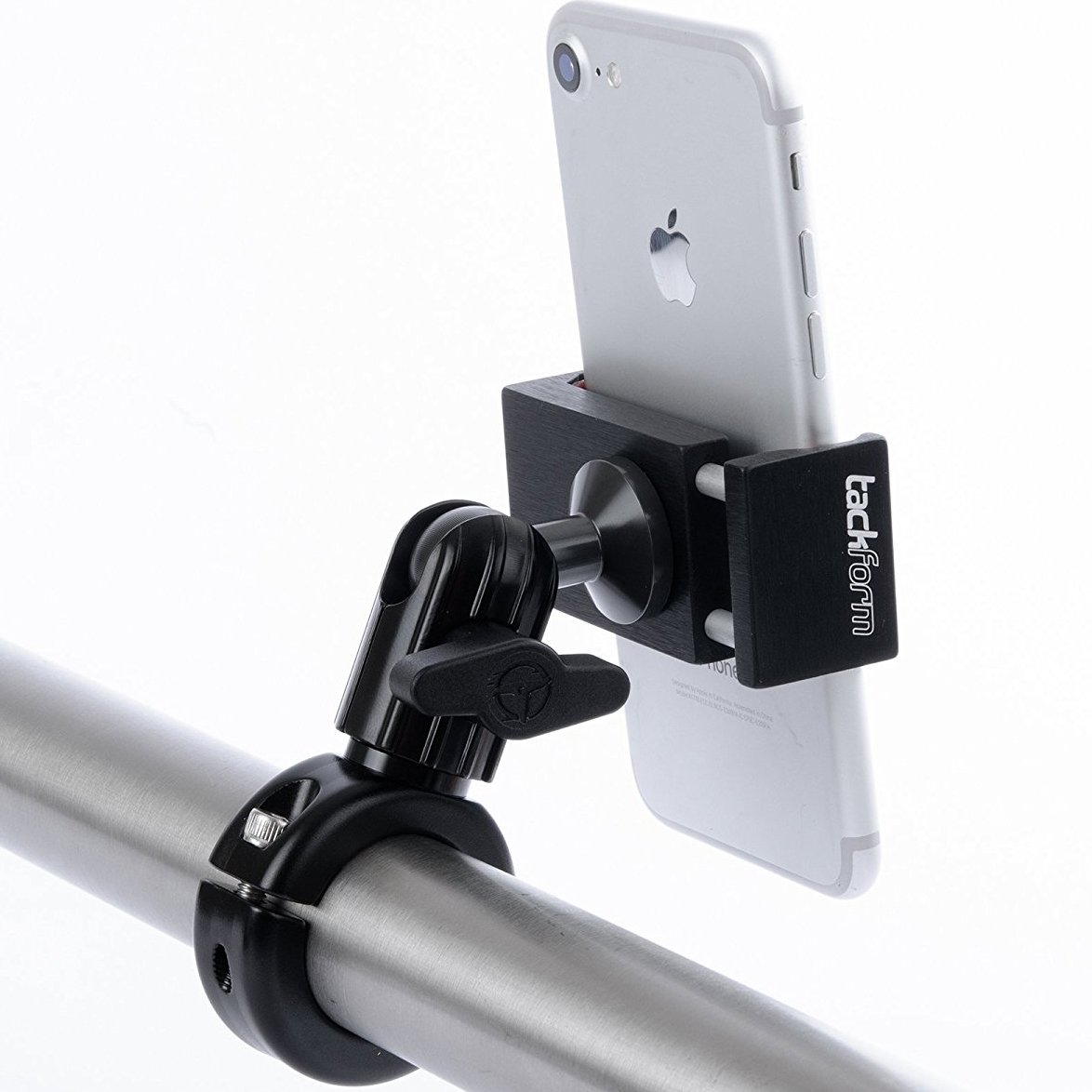 Metal Motorcycle Mount for Phone - by TACKFORM [Enduro Series] - NO SLINGS NEEDED. Rock solid holder for Regular and Plus sized iPhone and Samsung devices. Industrial Spring Grip by Tackform Solutions (Image #1)