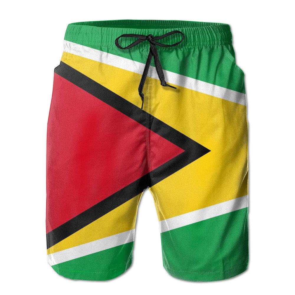 WANNATRY Guyana Flag Summer Mens Quick-Drying Surf Shorts