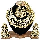 Finekraft Meena Kundan Bridal Wedding Designer Gold Plated Gold Color Necklace Jewelry Set