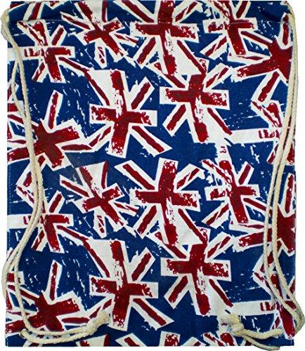 Sacchetto zaino borsa da donna Hipster da uomo blu rosso Turn sacchetto Sacca marinaio Tessuto sacchetto sacchetto Bambini Gym tela–Blue Britsh 4734