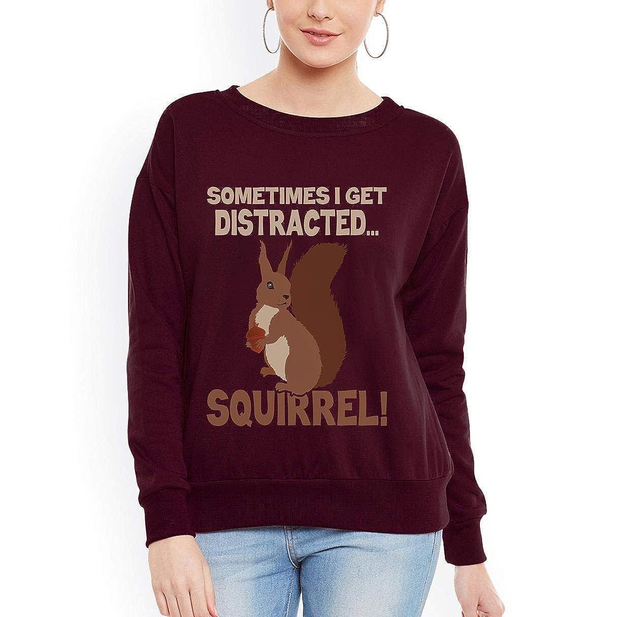 Doryti Sometimes Get Distracted Squirrel Women Sweatshirt tee