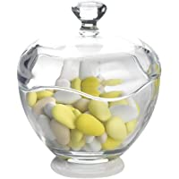 CAR Bomboniere Lara Glass Box with Lid, Height 14 cm and Diameter 13 cm, Transparent by Mascart