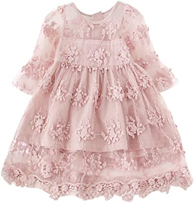 NNJXD Flower Girls Dress Girls Lace Princess Party Pageant Tulle Summer Vintage Dress
