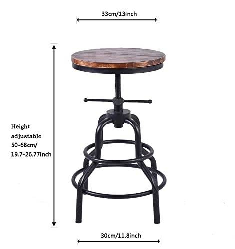 Diwhy Industrial Vintage Bar Stool,Kitchen Counter Height Adjustable Pipe Stool,Cast Iron Stool,Swivel Bar Stool,Round Wood and Meatal Stool,27 Inch,Fully Welded Set of 2 Style 2