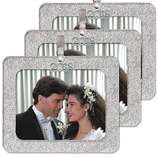 - 2018 Magnetic Glitter Christmas Photo Frame Ornaments with Non Glare Photo Protector, Horizontal 3-Pack- Silver