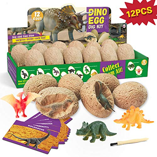 - XX Dinosaur Egg Dig Kit 12 Eggs Excavate 12 Different Dino Toys Easter Party Archaeology Paleontology Educational Science Gift