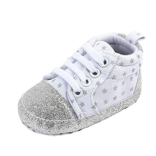 Mitlfuny Invierno Otoño Unisex Calzado Zapatos de Lona Primeros Pasos Bebé Antideslizantes de Suela Blanda Niños Niñas Estrella Imprimiendo Elástico ...