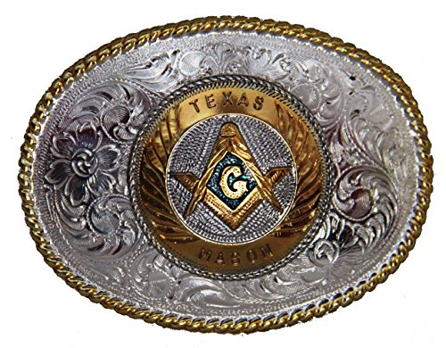 Large Texas Mason Badge Belt Buckle