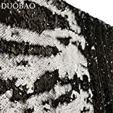 DUOBAO Sequin Backdrop 20FTx10FT Black to White Shimmer Backdrop Mermaid Reversible Sequin Backdrop Curtain Bridal Shower Photo Booth Backdrop