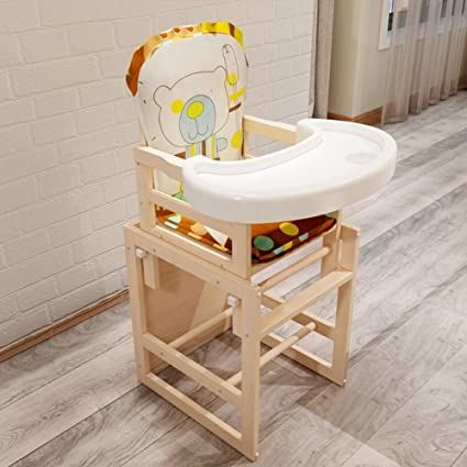Hzl 2 In 1 Combination Adjustable Solid Wood High Chair Toddler Chair 0 6 Years Old Baby 4