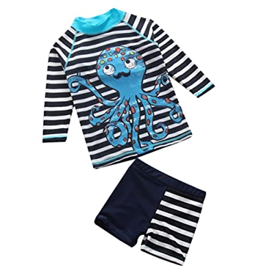 Baby Kid Boys Stripe Bathing Suit Rash Guards Swimsuit UV Sun Protective Surfing Suit UPF 50+