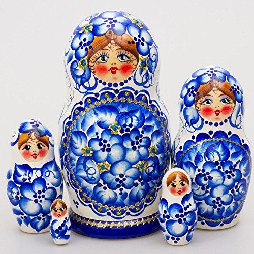 Matryoshka 5pcs Gzhel Beauty New Beautiful Blue Wooden Russian Nesting Dolls Gift Matreshka Handmade