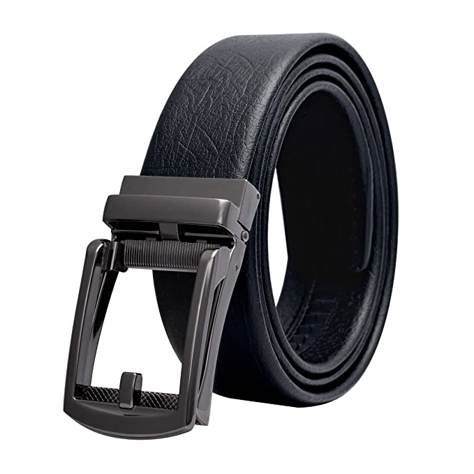 Luxury Men Belts Black Cool Automatic Buckle Guninue Leather Waistband New 083
