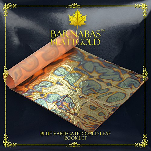 Gold Variegated Leaf (Variegated Gold Leaf Sheets - by Barnabas Blattgold - Color - Blue - 25 Sheets - 5.5 inches Booklet)