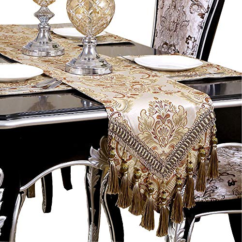 QXFSMILE Modern Jacquard Floral Table Runner Handmade Tassel Embroidered Table Runners Khaki 13 by 72 Inch Multi-Tassels