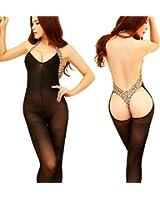Lucky2Buy Womens Sexy Lingerie Body Halter Leopard Stocking Bodysuit Nightwear