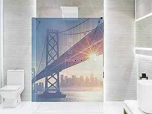 Vinilo Transparente para Mamparas de Ducha y Baños Puente Manhattan | Varias Medidas 200x60cm | Adhesivo Resistente y de Fácil Aplicación | Pegatina Adhesiva Decorativa de Diseño Elegante: Amazon.es: Hogar