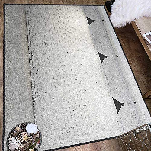 Abstract Super Soft Area Rug,Brickwork Concrete Room with Three Ceiling Lamps Modern Minimalistic Design Environmental Protection Fabric Black and White 71