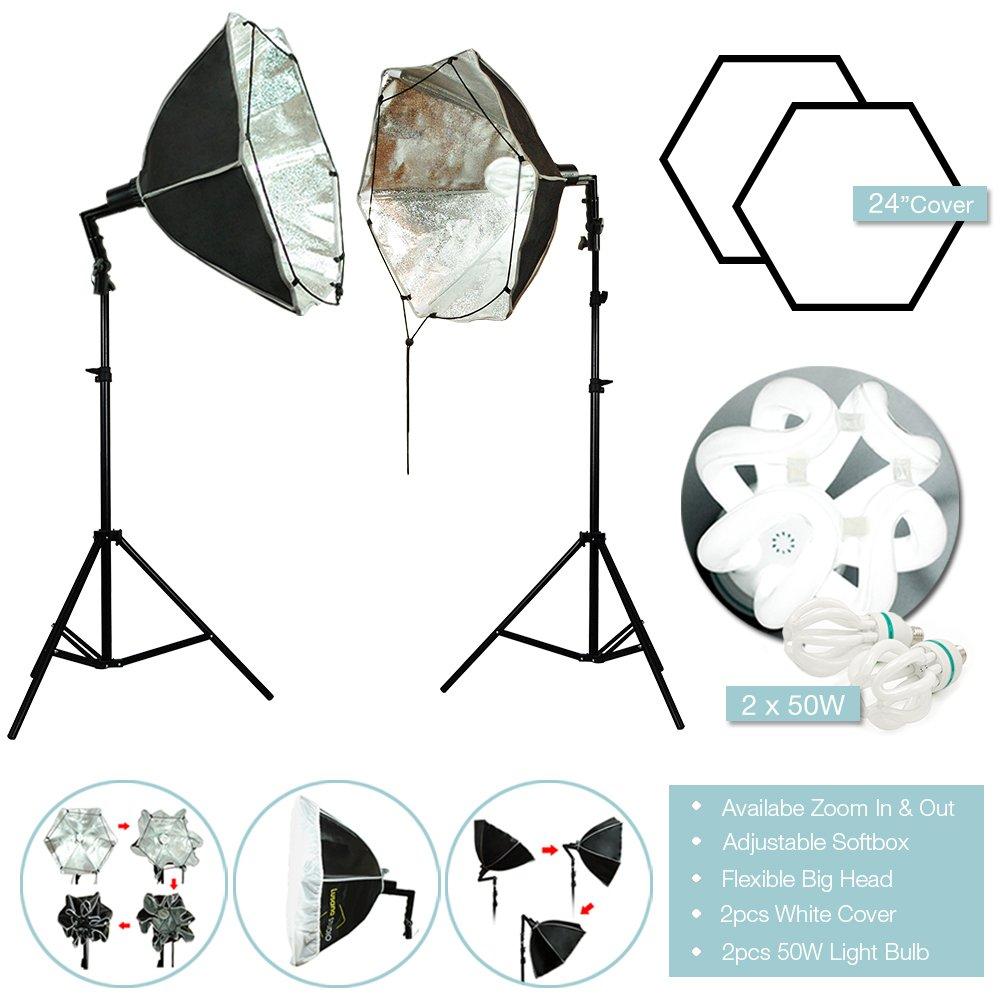 Lusana STUDIO 24'' Octagon Light Softbox Photo Video Studio Photography Continuous Lighting Kit, LNA1004-EYLS949