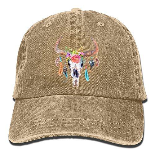 Watercolour Bull's Skull Adult Sport Adjustable Baseball Cap Cowboy (Adult Leopard Print Cowboy Hat)