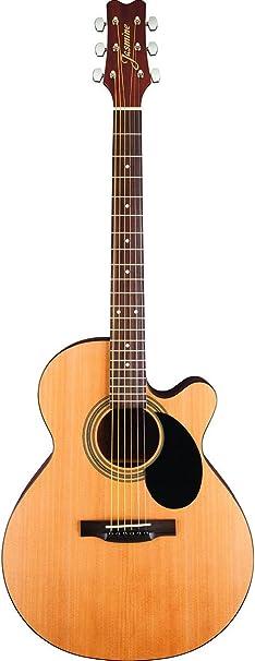 Jazmín s-34 C Grand Orquesta Cutaway 6-string guitarra acústica Paquete con bolsa de concierto, sintonizador, correa, cuerdas, púas, y paño de pulido