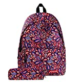 Sammid Fashion Laptop School Backpack,Casual 2 Pcs Backpacks Set School Bookbags Smooth Zipper Canvas Laptop Daypack with Small Pencil Case for Women Men Teen Girls Boys