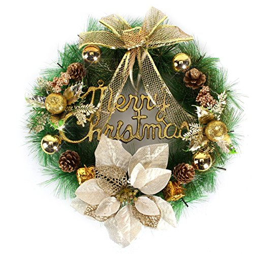 Yesurprise Christmas Wreath Xmas Gift Large 16 Inch Pine Garland with Gold Bowknot for Home Party Front Door Wall (Gold Pine Wreaths)