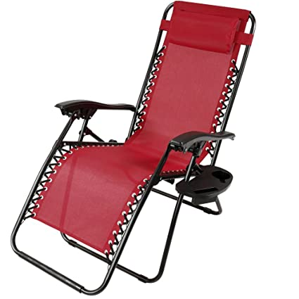 Genial Sunnydaze Red Zero Gravity Lounge Chair With Pillow And Cup Holder