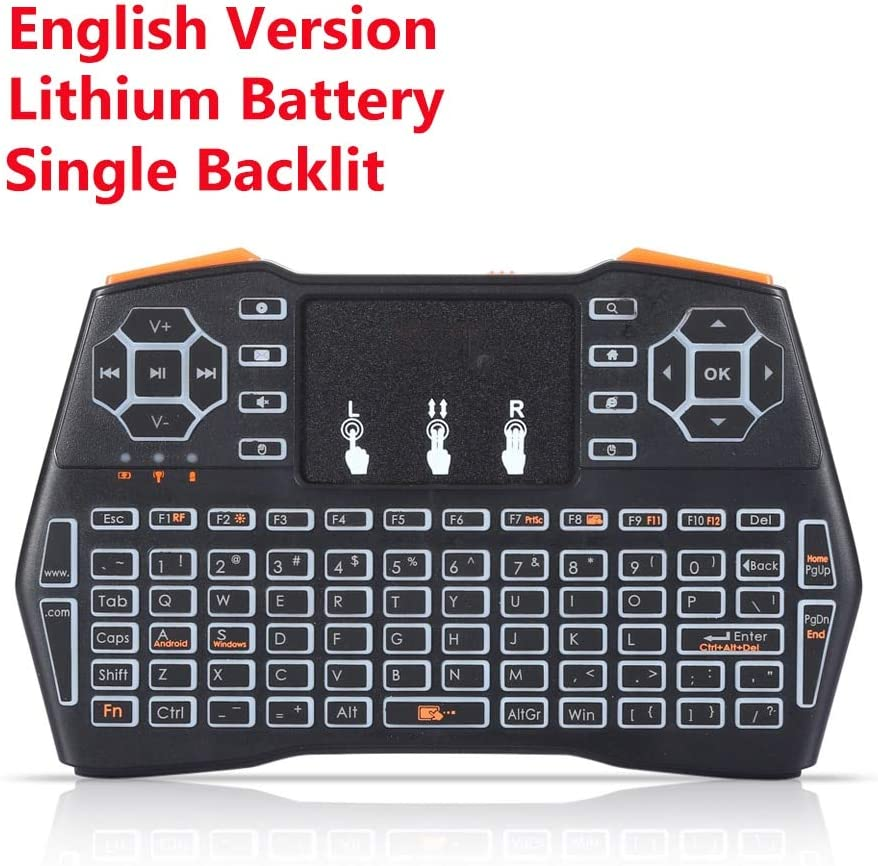 Calvas NewI8 Blacklight Mini Wireless Keyboard 2.4GHz Air Mouse Remote Control Gaming Touchpad for Android TV BOX Laptop Smart TV Color: Blacklit I8plus lith
