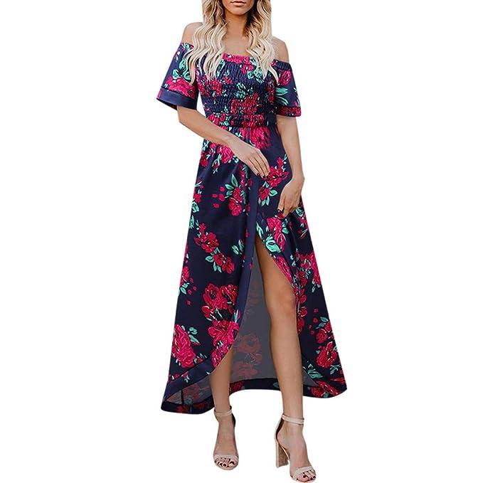 050658415 AIFGR Falda de señora Damas Vestido de Fiesta de Verano de Manga ...