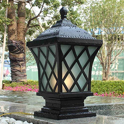 - Moddeny IP54 Square Waterproof Outdoor Pillar Light Column Lamp Exterior Rainproof Aluminum Glass Post Lanterns Traditional E27 Black Patio Villa Garden Park Balcony Gate Street Lighting