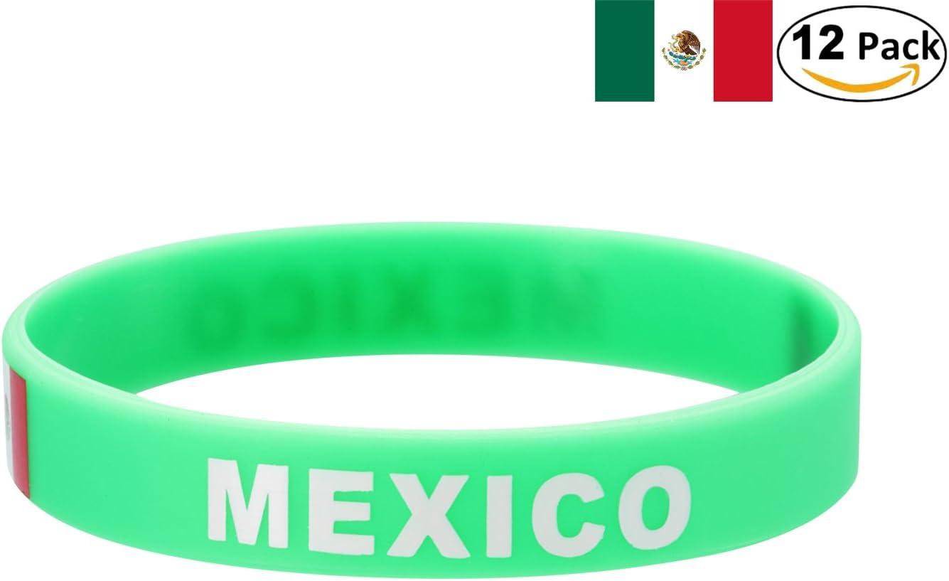 YDT 2018 Copa Mundial de la FIFA Brazalete Deportivo Pulseras de la Bandera Nacional de Silicona para los Fanáticos del Fútbol México Verde (12 Piezas): Amazon.es: Deportes y aire libre
