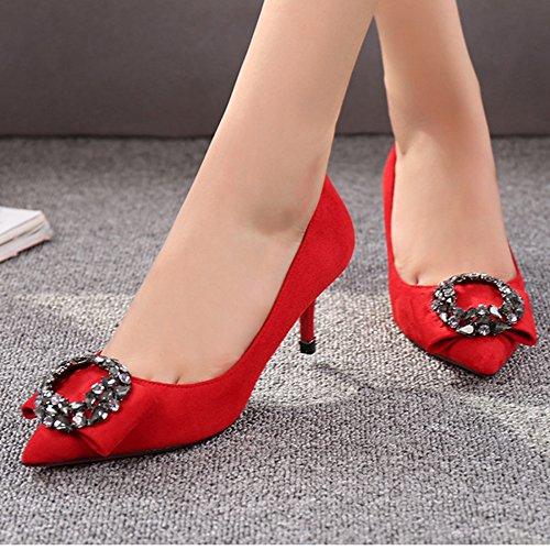 Les Travail de Pointus Pompes Stilettos DKFJKI Chaussures Chaussures Femmes red Strass Célibataires Mariage de Escarpins dw77Iv