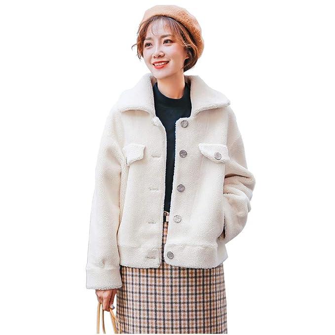 Abrigos Piel de Cordero Corto Moda Salvaje Coreano Grueso Piel de Cordero Rosa Beige Caqui Suelta algodón: Amazon.es: Ropa y accesorios