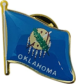 product image for Set of 12 Oklahoma Single Waving State Flag Lapel Pin - Made in The USA