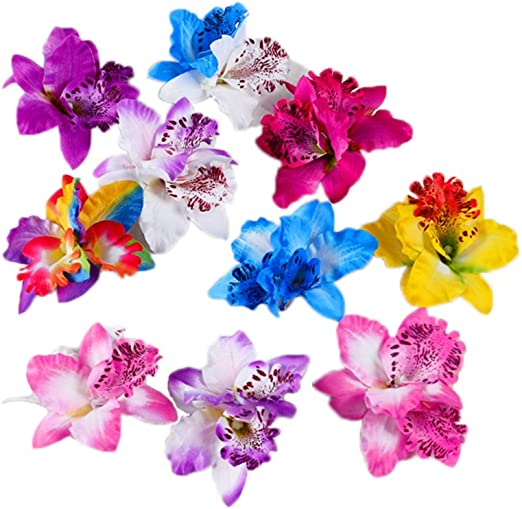 New Purple Hibiscus Flower Hair Clip Fancy Dress Bridal Hawaiian Luau Party