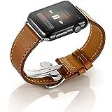 EloBeth Apple Watch バンド 本革ベルトレザー スマートウォッチ for Apple Watch 38mm用 42mm用 アップルウォッチ用 交換バンド Apple Watch Series 2 Single Tour 時計バンド 腕時計ストラップ (42mm, 折りたたみ式バックル ブラウン )
