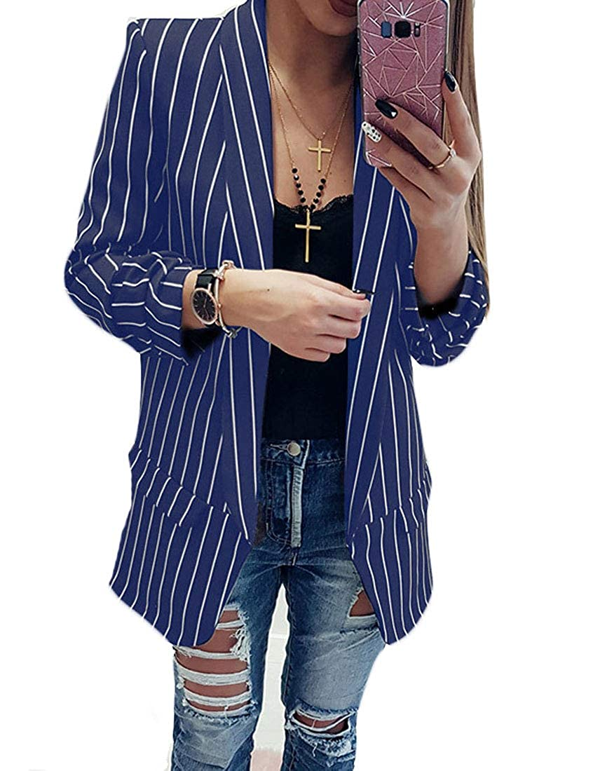 CrazyBegin Women Stripe Lapel Jacket Suit Blazer Work Office Style Open Front Cardigans Suit Coat Blue XS