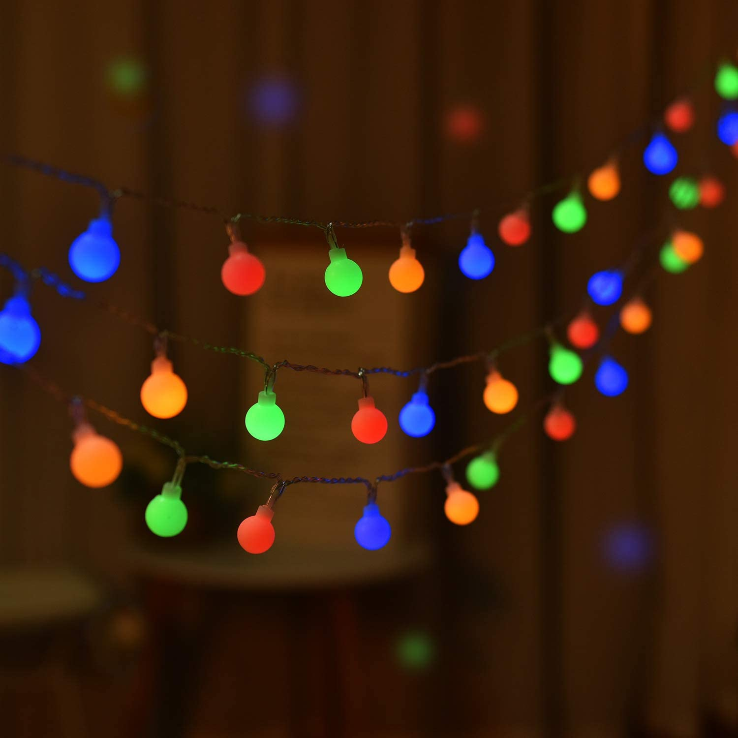16.4FT 50-LED Mini Globe String Lights, Battery Operated, Fairy String Lights, 8 Modes, Decor for Indoor Outdoor Party Wedding Christmas Tree Garden (Multi)