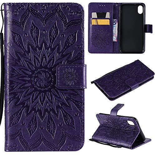 iPhone XR Case 6.1 inch, Wallet Flip Folio Case Kickstand Card Slots Wrist String Embossed Sunflower PU Leather Wallet Case Shockproof Soft TPU Rubber Bumper Slim Wallet Case for iPhone XR