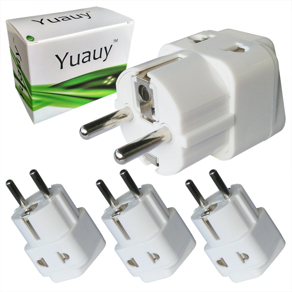 Yuauy 3 PCs 2 in 1 America US USA to EU Europe Euro Charger Adapter Wall Plug Power Jack Converter for Germany France Europe Russia Grounded Travel Home White