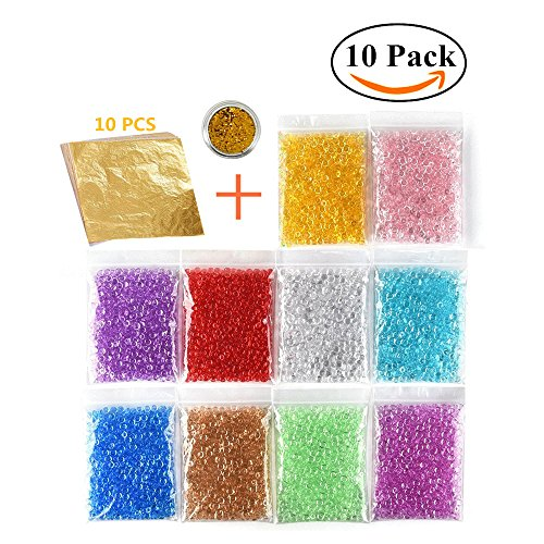 Colorful Slime Beads 10 Pack Fishbowl Beads for Crunchy Slime Acrylic Vase Filler Beads Fish Bowl Beads Imitation Gold Leaf Foil Paper for Wedding and Party (10k Gold Beads)