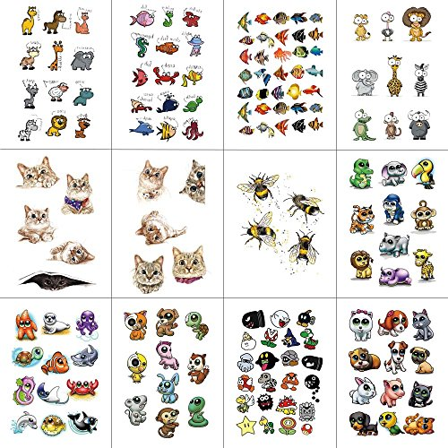 WYUEN 12 PCS Cartoon Small Animals Temporary Tattoo Sticker for Women Fashion Body Art Children Kids Waterproof Hand Fake Tatoo 9.8X6cm (FW12-27)