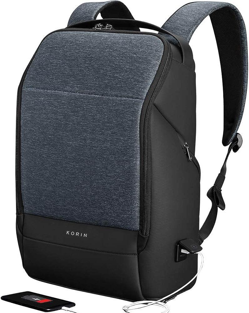 KORIN Design FlexPack Pro -Flexibility Smart Backpack Anti-theft Travel backpacks 15.6 inch Laptop Bag with 2.0 USB Charging Port Large Capacity Waterproof TSA